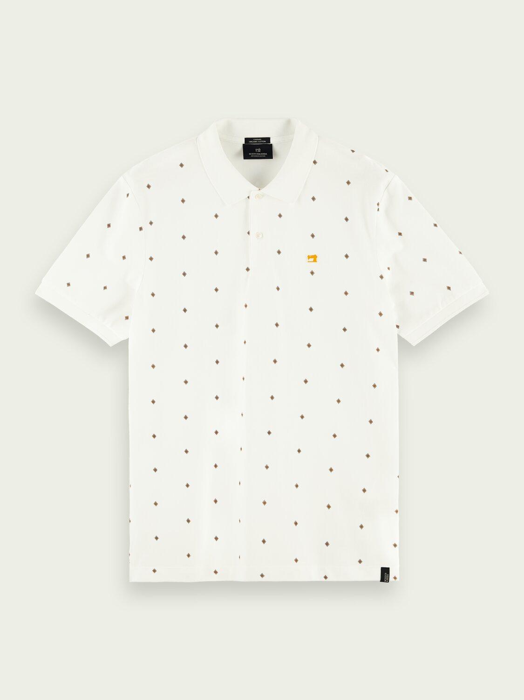 Πόλο T-shirt ανδρικό με μικροσχέδιο Scotch & Soda (160876-0220-WHITE-COMBO-D)