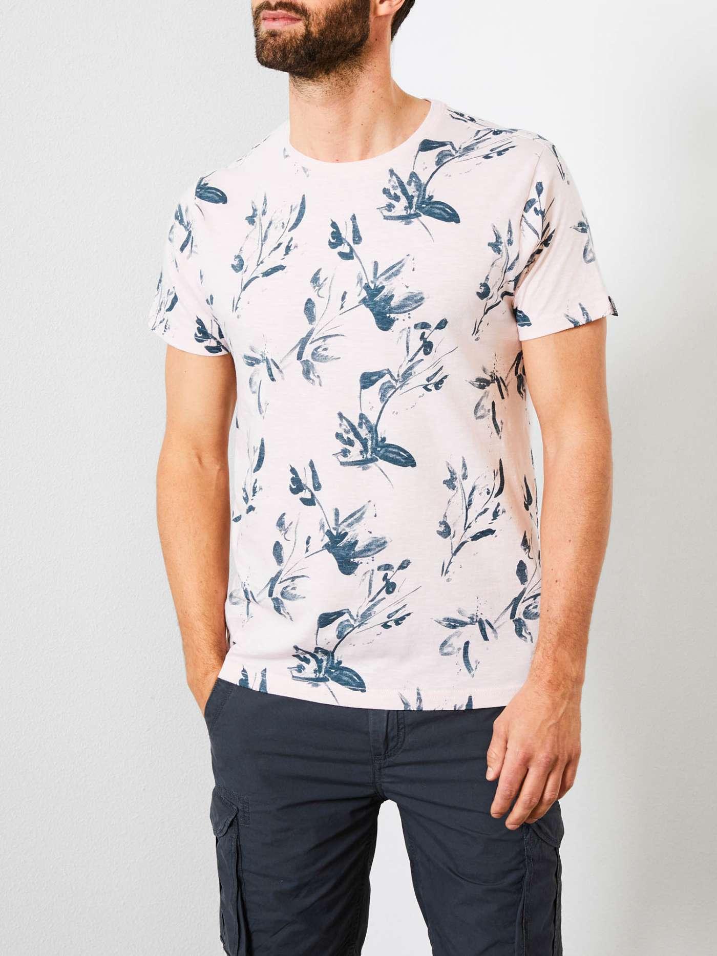 T-shirt ανδρικό fullprint με στρογγυλή λαιμόκοψη Petrol Industries (M-1000-TSR628-8001-CHALK-PINK)